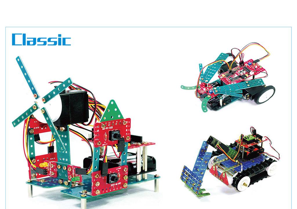 采用乐博趣国际教育集团研发的单片机器材和图形化界面编程软件,适合8-12岁儿童学习。单片机机器人可以让学员学习到关于机器人模型搭建以及结构相关知识,他们可以学习到有关电器、电子、构造以及传感器理论,搭建过程需要用到螺丝刀以及各种小零件,提高孩子们的动手能力、细致严谨的态度。图形化编程软件对孩子的编程学习有着重要的启发作用,最终和模型结构结合在一起,完成一个属于自己的机器人。
